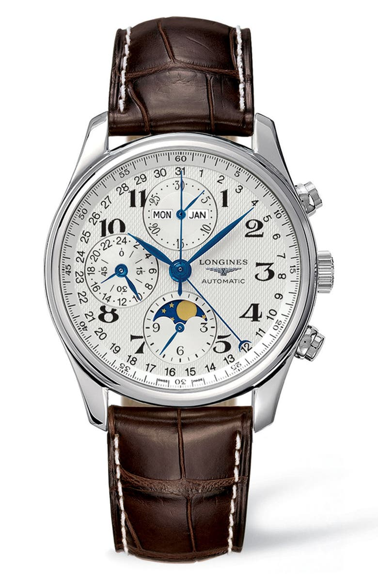 LONGINES Master Automatic Chronograph Leather Strap Watch, 40mm, Main, color, 200