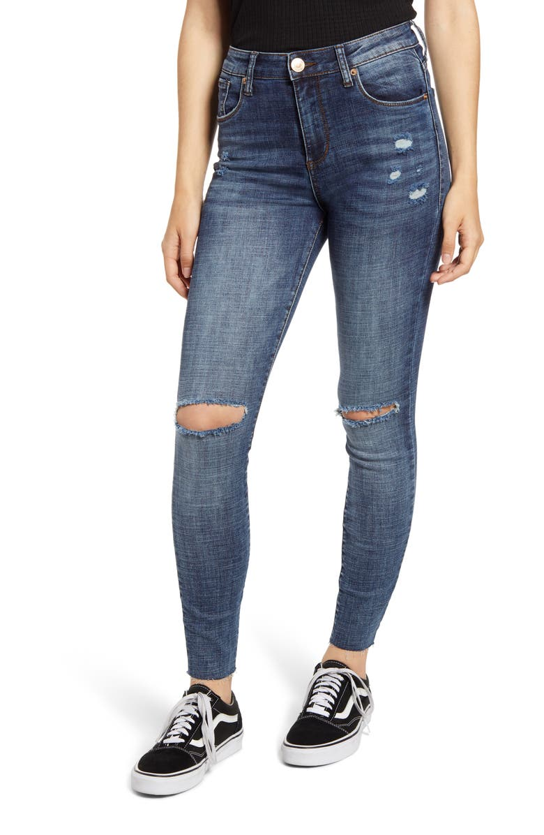 STS BLUE Ellie Ripped High Waist Ankle Skinny Jeans, Main, color, 400