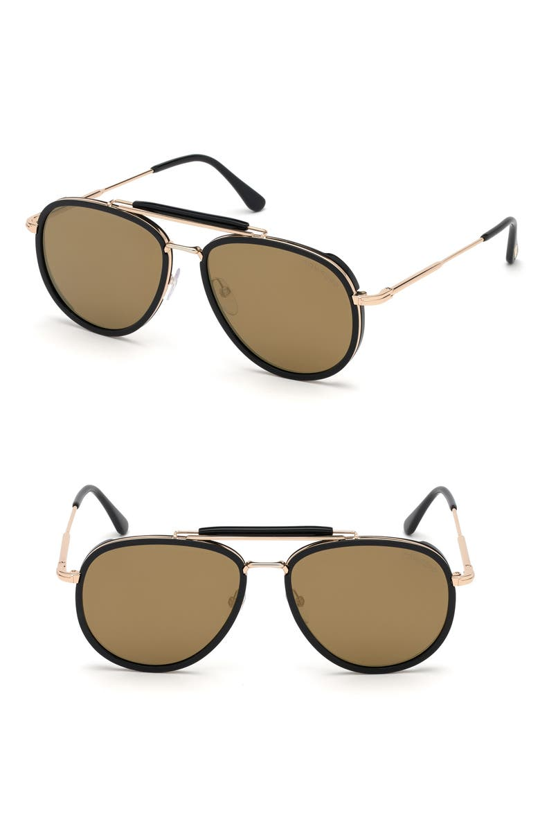 TOM FORD Tripp 58mm Aviator Sunglasses, Main, color, 040