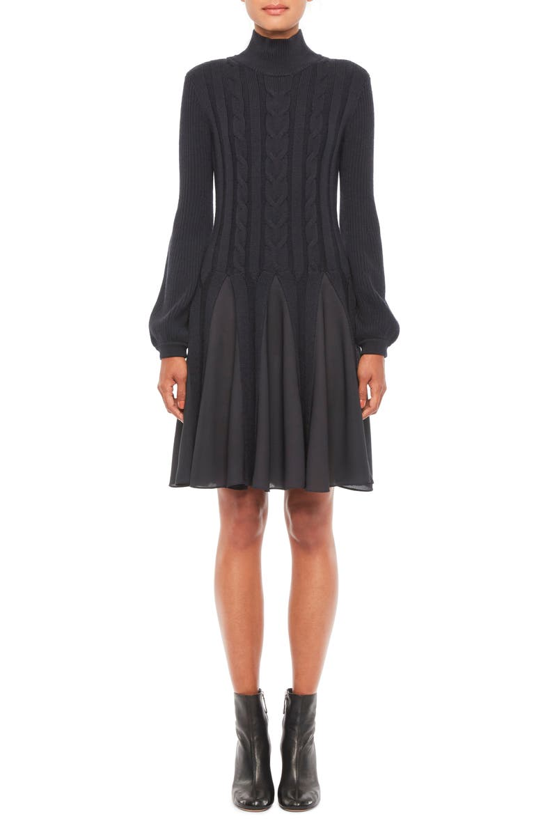 EMPORIO ARMANI Mix Media Fit & Flare Sweater Dress, Main, color, NAVY BLUE