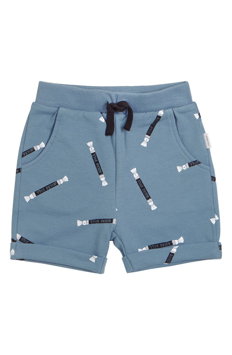 MILES Kids' Candy Print Knit Shorts, Main, color, BLUE GREY