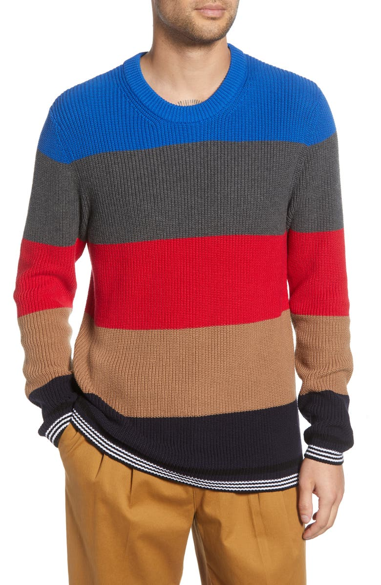 FRENCH CONNECTION Stripe Regular Fit Cotton Sweater, Main, color, TRUE RED MULTI