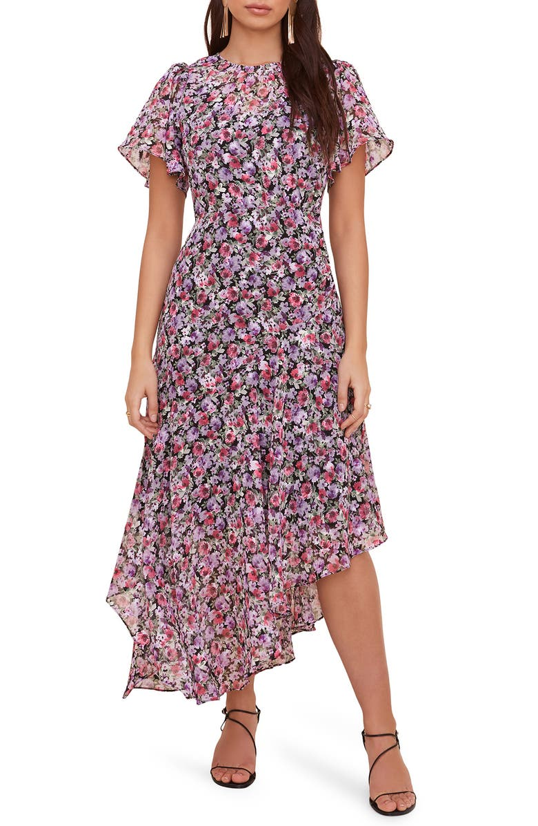 ASTR THE LABEL Floral Print Dress, Main, color, BLACK-LILAC FLORAL