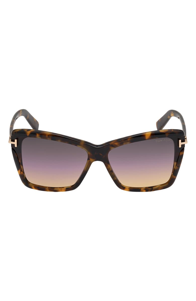 TOM FORD Leah 64mm Gradient Polarized Oversize Butterfly Sunglasses, Main, color, COLORED HAVANA/ GRADIENT SMOKE
