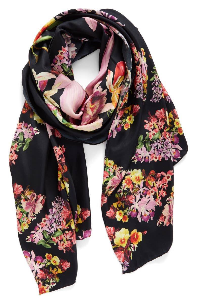 TED BAKER LONDON Lost Gardens Silk Scarf, Main, color, 001