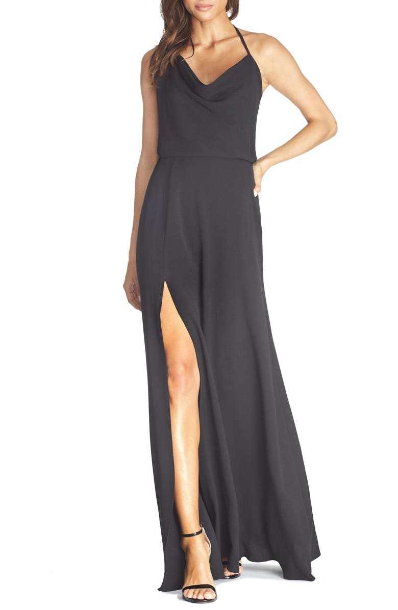 DRESS THE POPULATION Cheyenne Cowl Neck Evening Gown, Main, color, 001