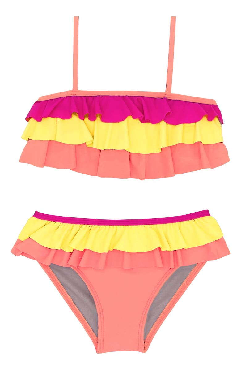BEACH LINGO Kids' Ruffle Two-Piece Swimsuit, Main, color, CORAL