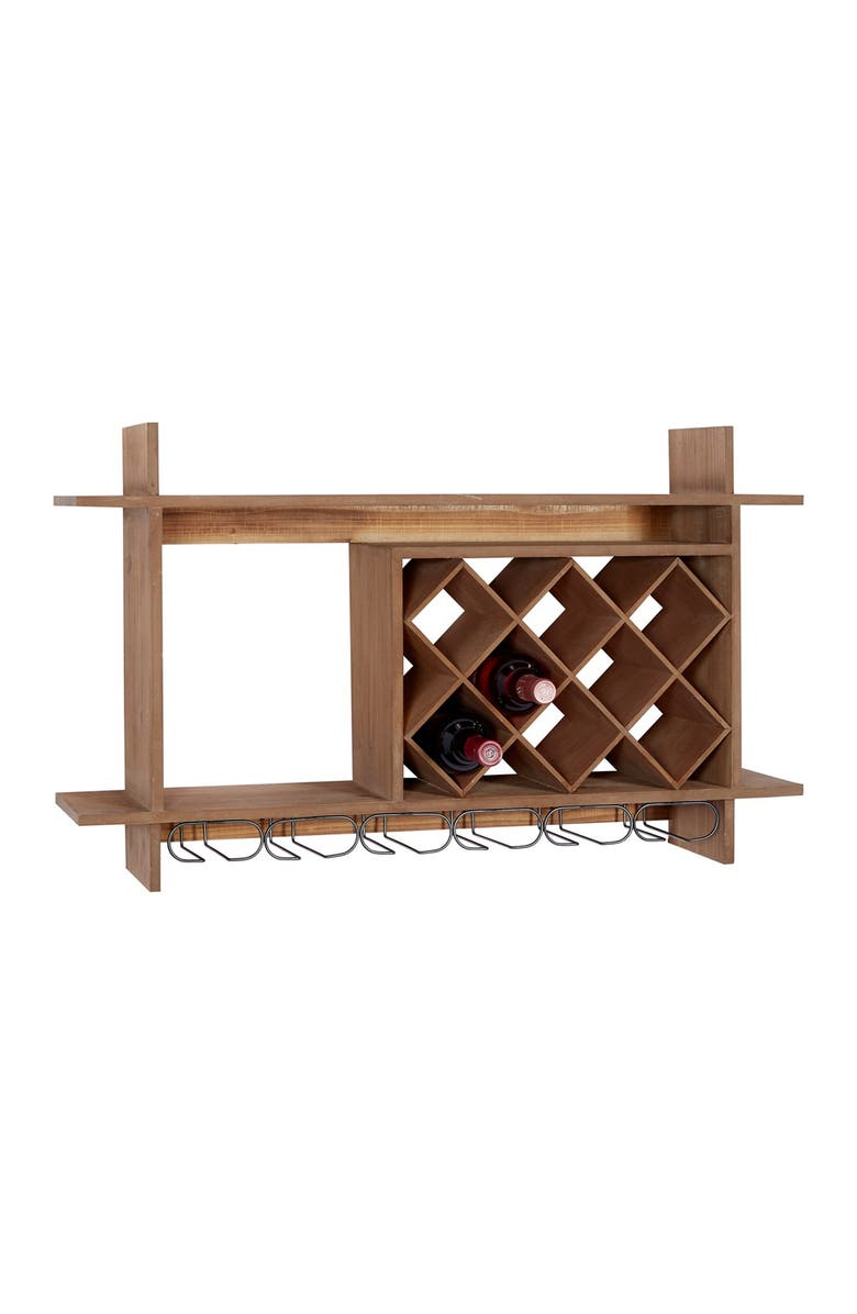 """WILLOW ROW Brown Wood Natural Wine Rack - 20"""" x 34"""" x 8"""", Main, color, BROWN"""