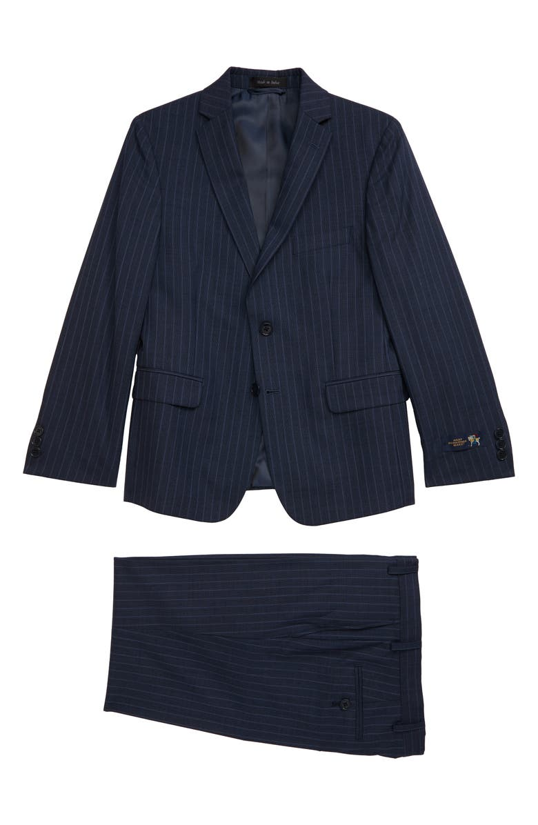 HART SCHAFFNER MARX Relaxed Stripe Wool Suit, Main, color, BLUE