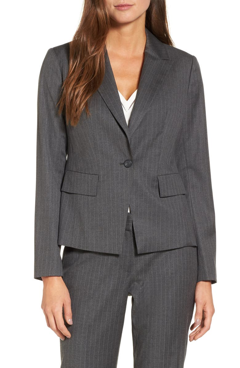 HALOGEN<SUP>®</SUP> Pinstripe One-Button Suit Jacket, Main, color, CHARCOAL PINSTRIPE