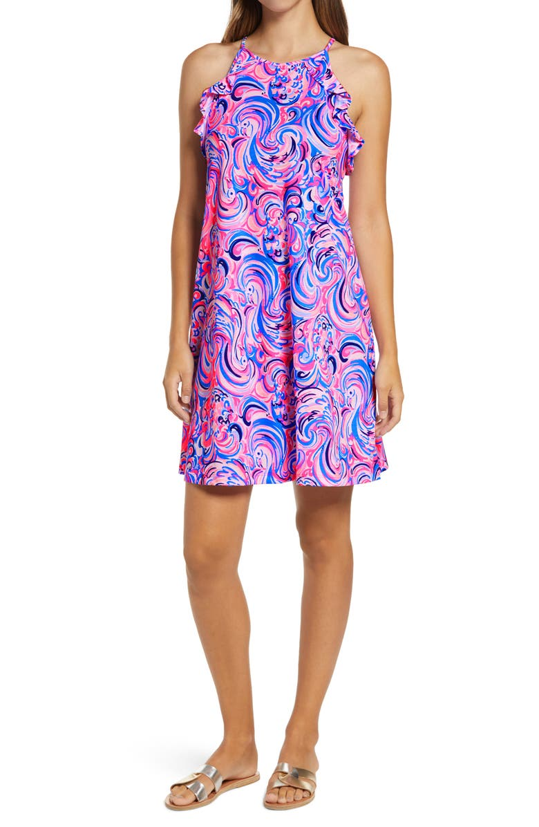 LILLY PULITZER<SUP>®</SUP> Billie Ruffle Swing Dress, Main, color, RAZ BERRY FLAMINGOALS