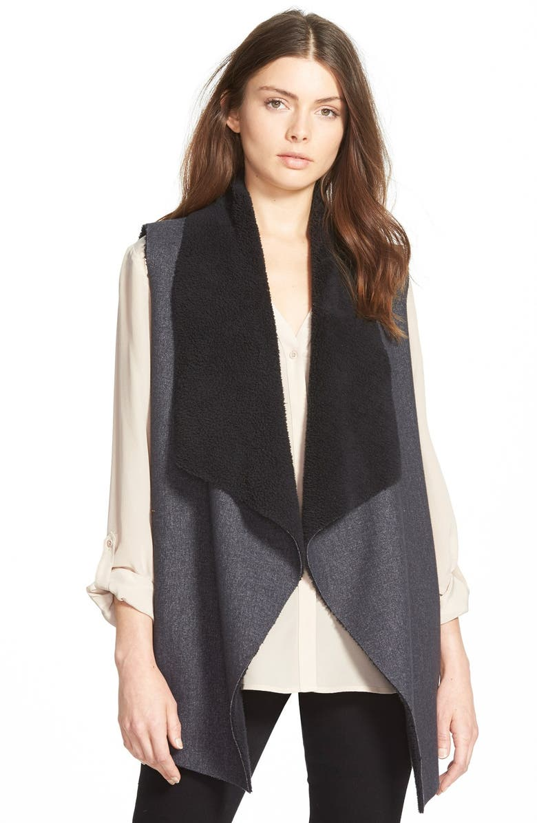SPLENDID 'Keane' Drape Front Faux Shearling Vest, Main, color, 020