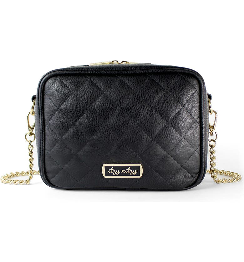 ITZY RITZY Double Take Faux Leather Crossbody Diaper Bag, Main, color, BLACK