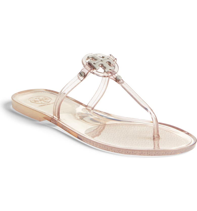 TORY BURCH Mini Miller Jelly Thong Sandal, Main, color, GREY