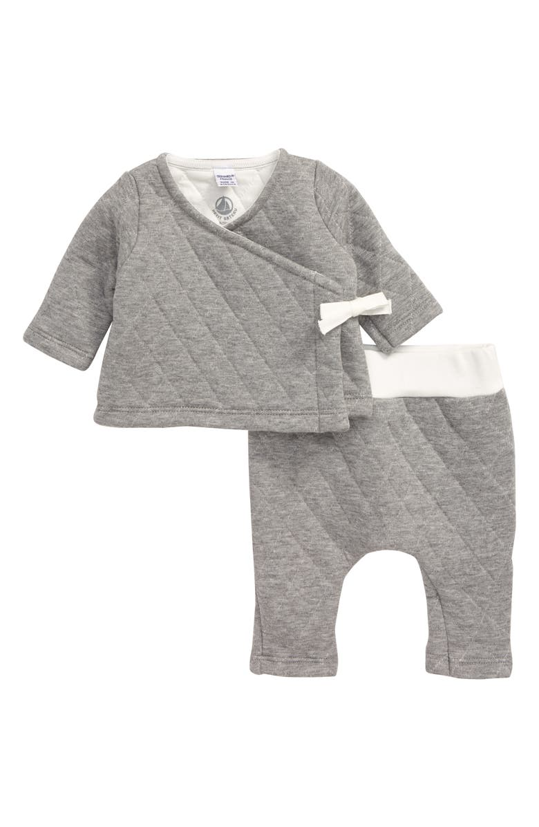 PETIT BATEAU Quilted Wrap Top & Pants Set, Main, color, 020