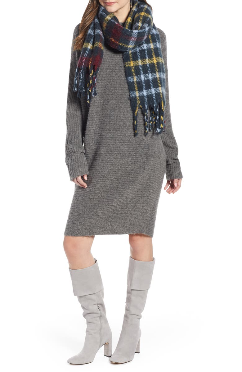 SOMETHING NAVY Check Blanket Scarf, Main, color, NAVY COMBO