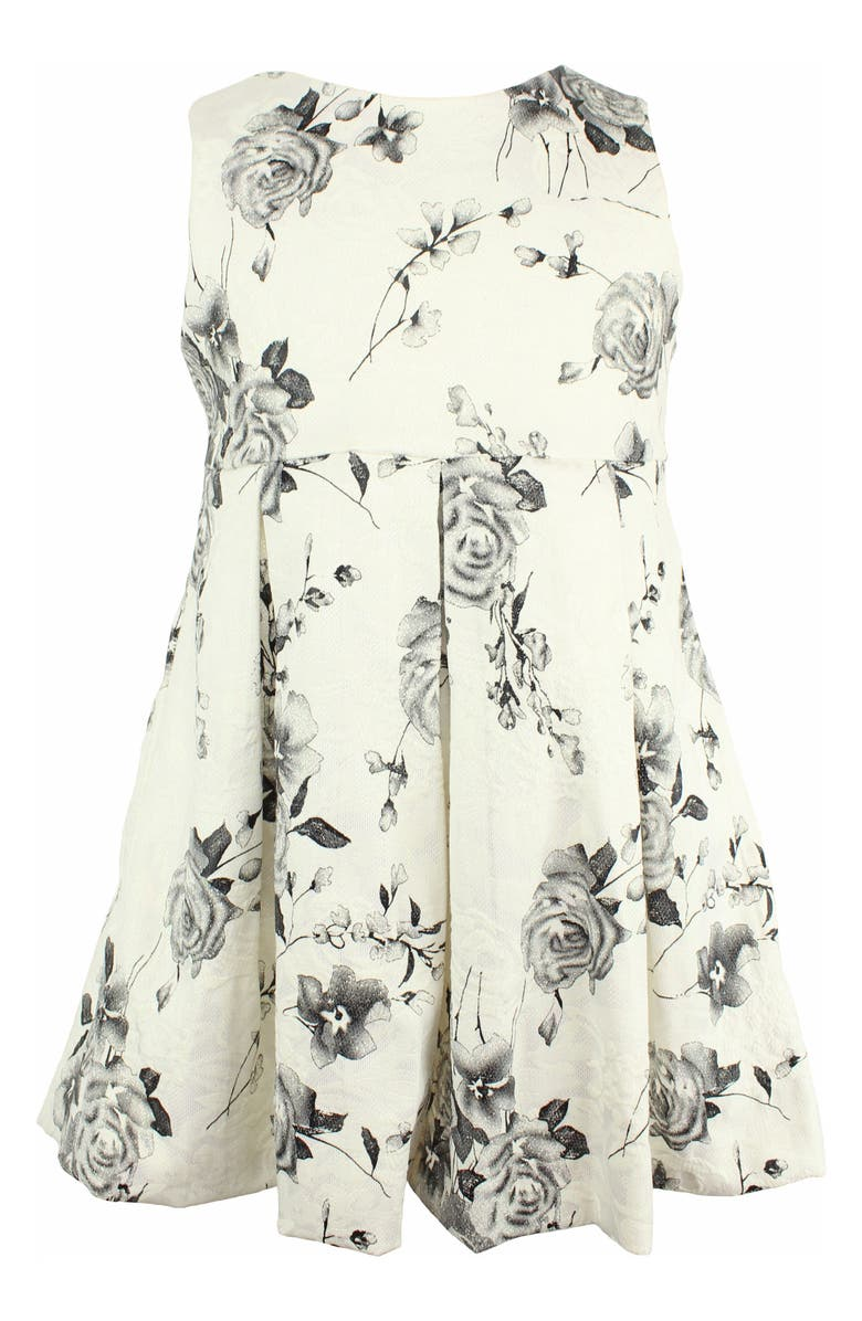 POPATU Embroidered Flower Fit & Flare Dress, Main, color, 103