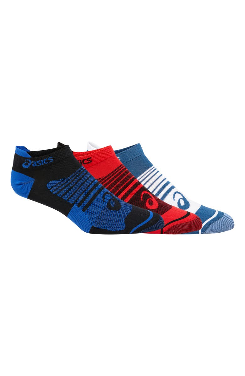 ASICS<SUP>®</SUP> Quick Lyte Plus 3-Pack Socks, Main, color, PERFORMANCE BLACK/BLUE/RED