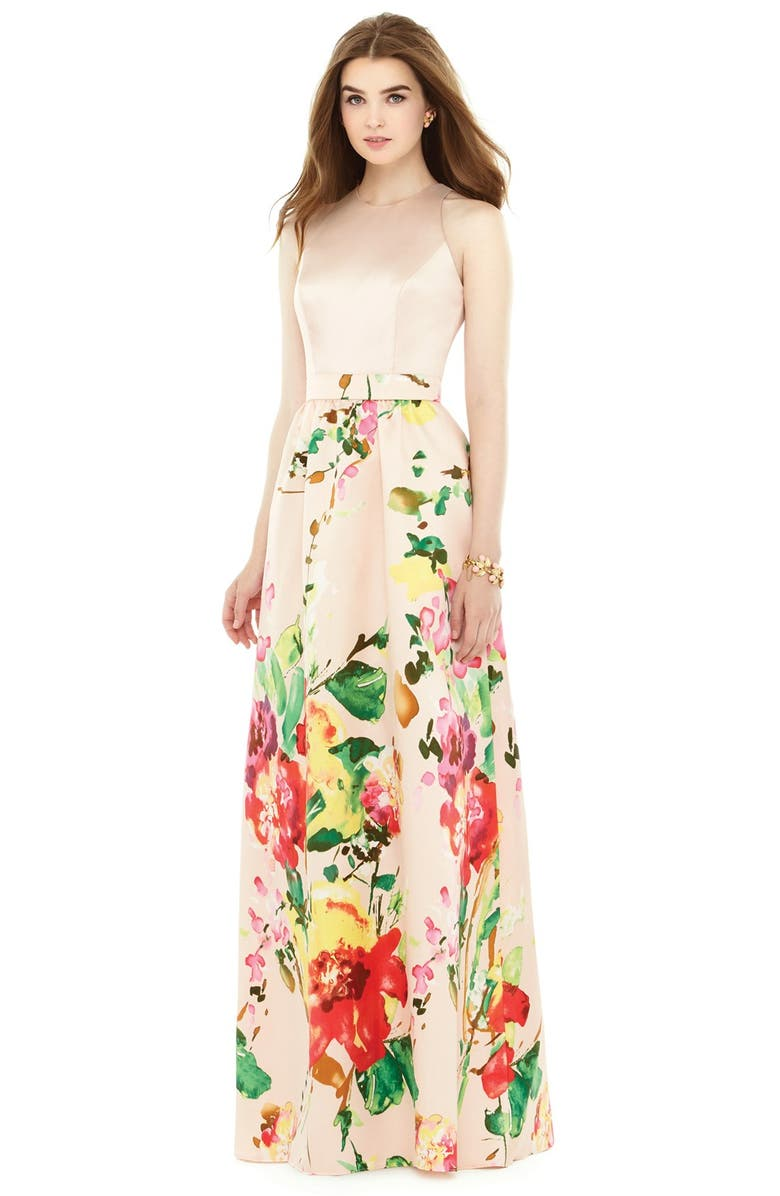 ALFRED SUNG Watercolor Floral Print Sleeveless Sateen A-Line Gown, Main, color, 957