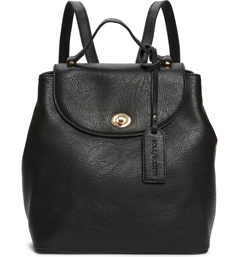 SOLE SOCIETY Georgia Faux Leather Backpack, Main, color, 001