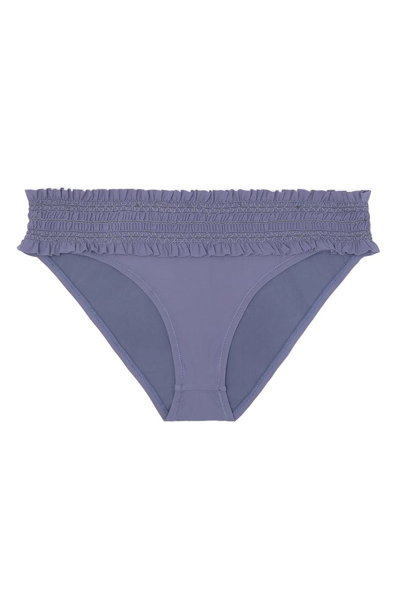 TORY BURCH Costa Smocked Hipster Bikini Bottoms, Main, color, ECLIPSE/ ECLIPSE