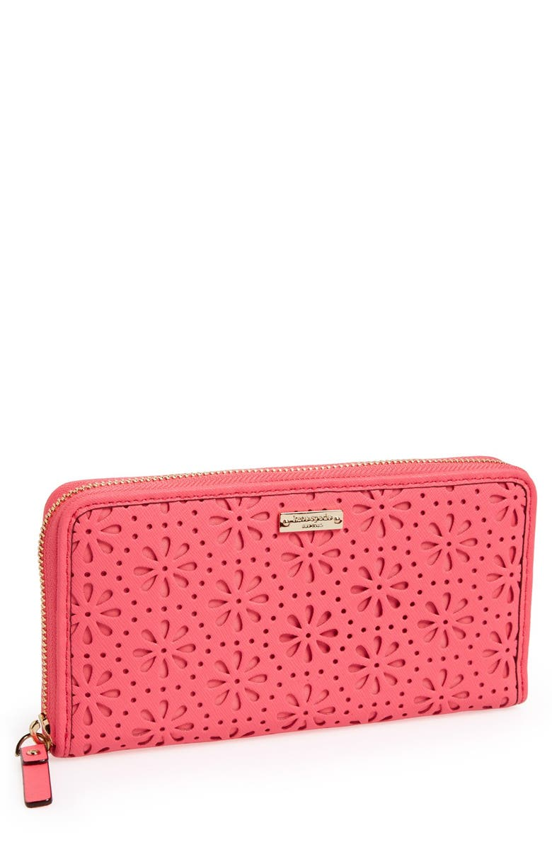 KATE SPADE NEW YORK 'cedar street - perforated lacey' zip around wallet, Main, color, SURPRISE CORAL