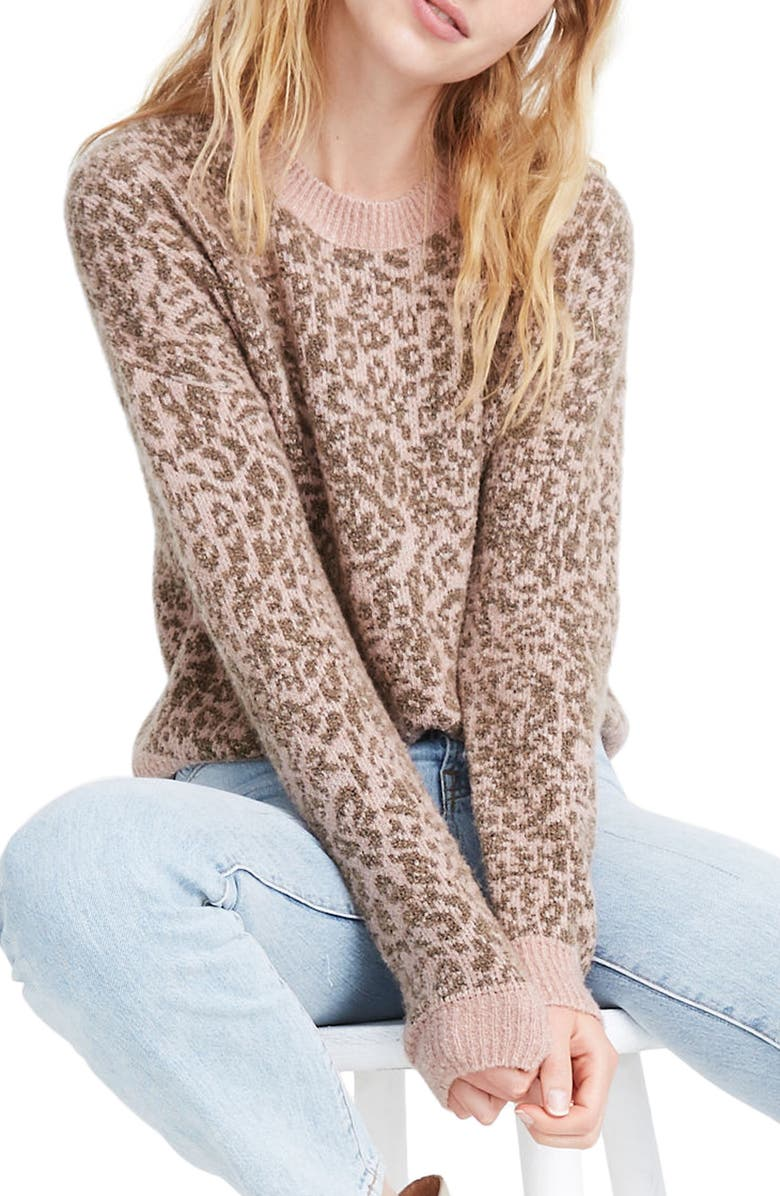 MADEWELL Leopard Print Shrunken Pullover Sweater, Main, color, 650