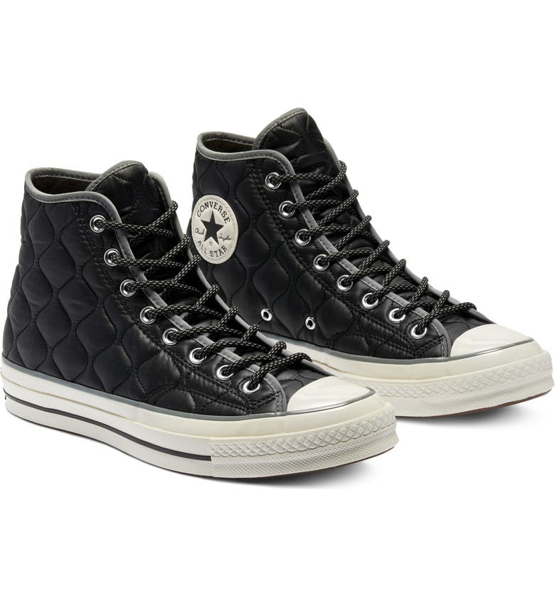 CONVERSE Chuck Taylor<sup>®</sup> All Star<sup>®</sup> Chuck 70 Onion Quilted High Top Sneaker, Main, color, BLACK/ LIMESTONE GREY