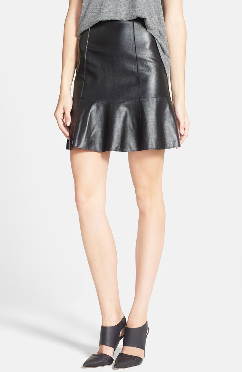 PLENTY BY TRACY REESE Flared Faux Leather Skirt, Main, color, 001
