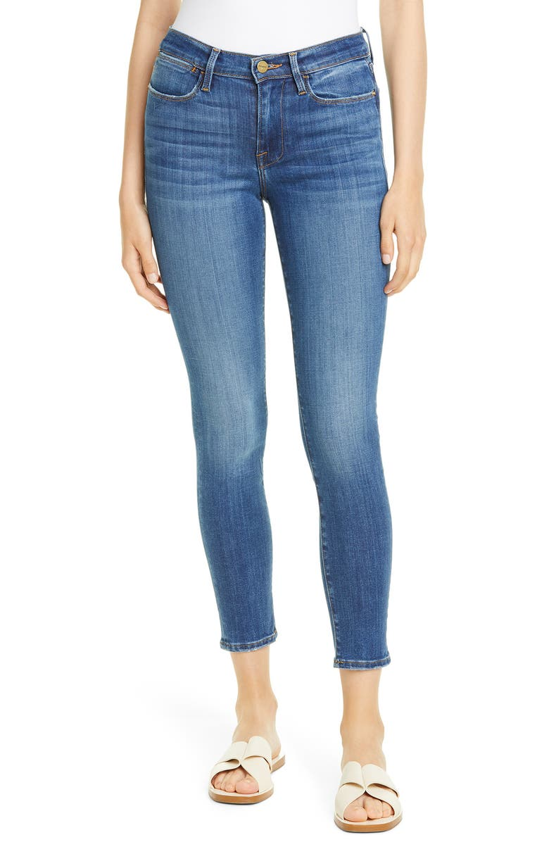 FRAME Le High Ankle Skinny Jeans, Main, color, POE