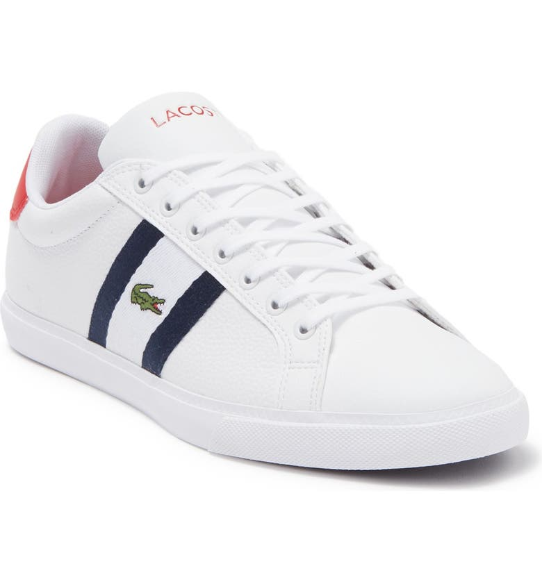 LACOSTE Grand Vulc 120 Sneaker, Main, color, 407 WHT/NVY/RED