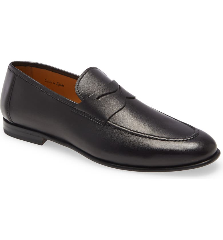 MEZLAN Pompei Penny Loafer, Main, color, BLACK LEATHER