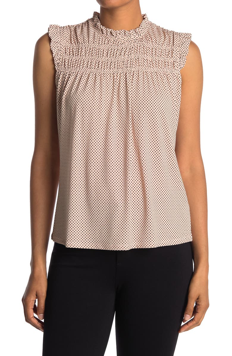 ADRIANNA PAPELL Printed Ruffle High Neck Top, Main, color, CHAMPGNE SMALL DOT