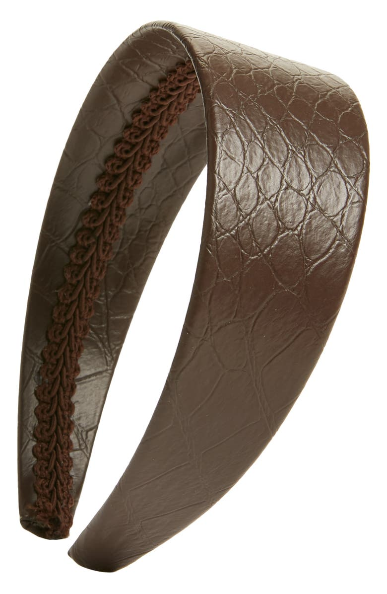 HALOGEN<SUP>®</SUP> x Atlantic-Pacific Croc Embossed Faux Leather Headband, Main, color, 201