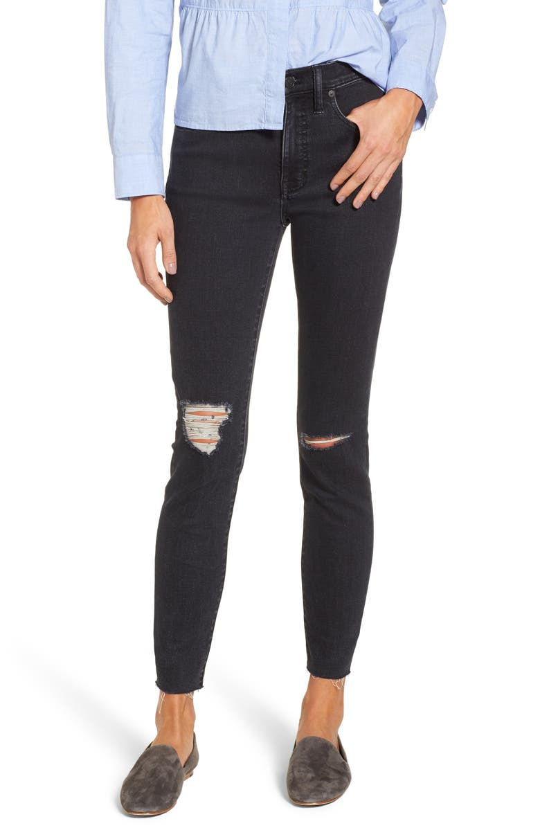 MADEWELL 9-Inch High Rise Ripped Skinny Jeans, Main, color, 409