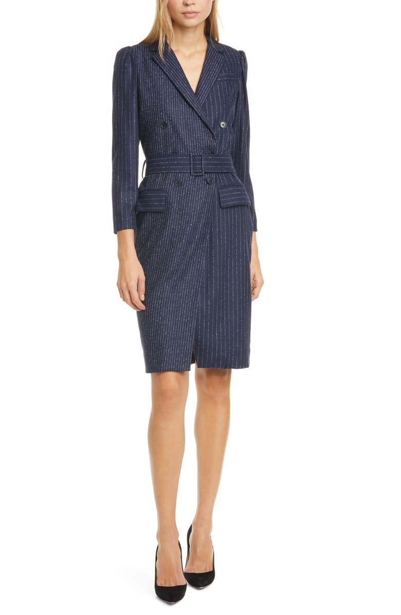 TAILORED BY REBECCA TAYLOR Mixed Pinstripe Long Sleeve Blazer Dress, Main, color, NAVY