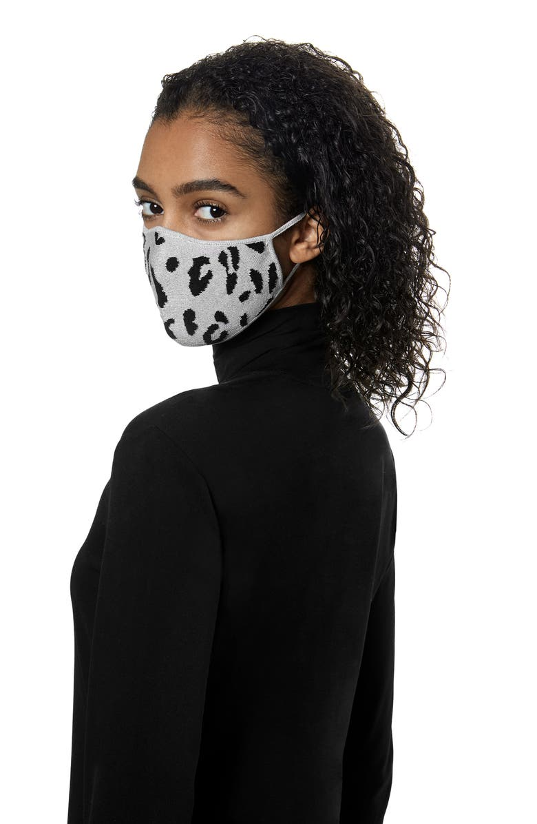 ST. JOHN COLLECTION Leopard Pattern Silk Blend Knit Adult Face Mask, Main, color, WHITE