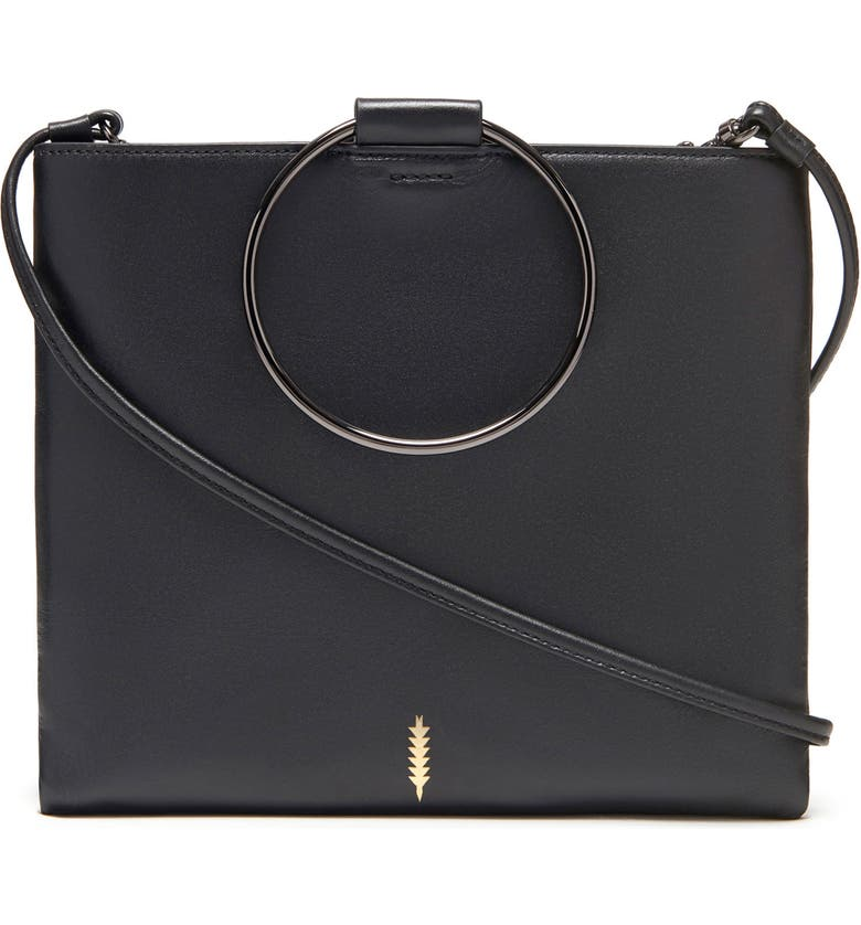 THACKER Le Pouch Leather Ring Handle Crossbody Bag, Main, color, BLACK/ GUNMETAL