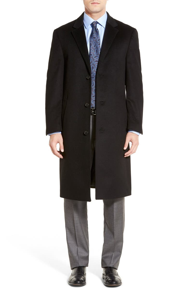 HART SCHAFFNER MARX Sheffield Classic Fit Wool & Cashmere Overcoat, Main, color, 001