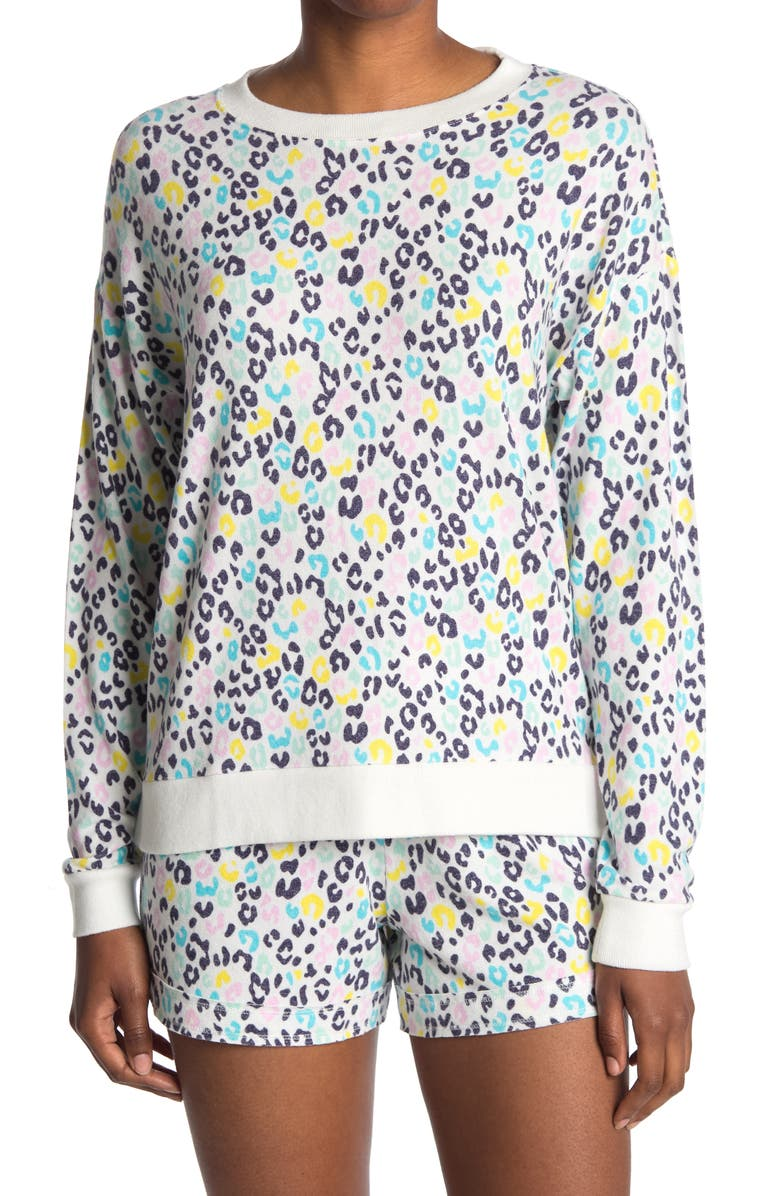 FREE PRESS Cozy Crew Neck Pullover, Main, color, IVORY EGRET COLORFUL ANIMAL