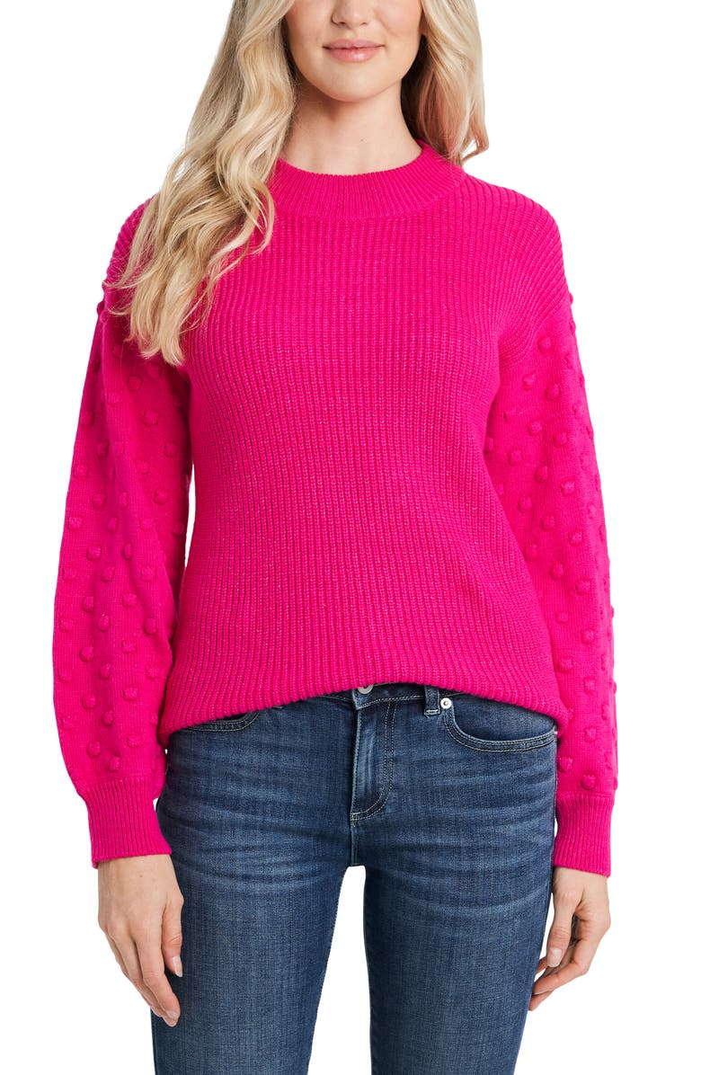 CECE Puff Sleeve Bobble Ribbed Sweater, Main, color, AURORA PINK