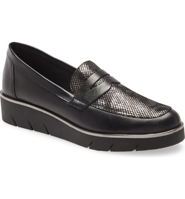 THE FLEXX Harrow Wedge Loafer, Main, color, BLACK/ GUNMETAL LEATHER