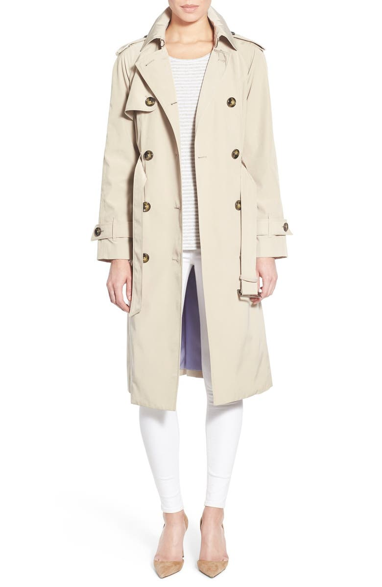LONDON FOG Double Breasted Trench Coat, Main, color, STONE