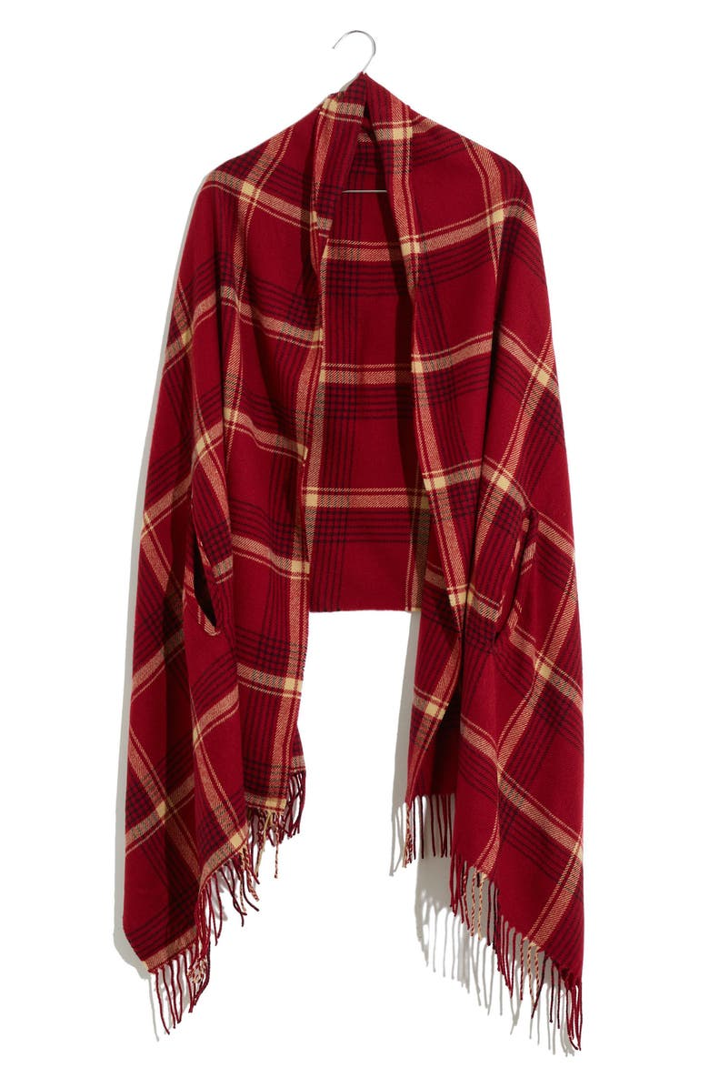 MADEWELL Buffalo Check Cape Scarf, Main, color, SCARLET