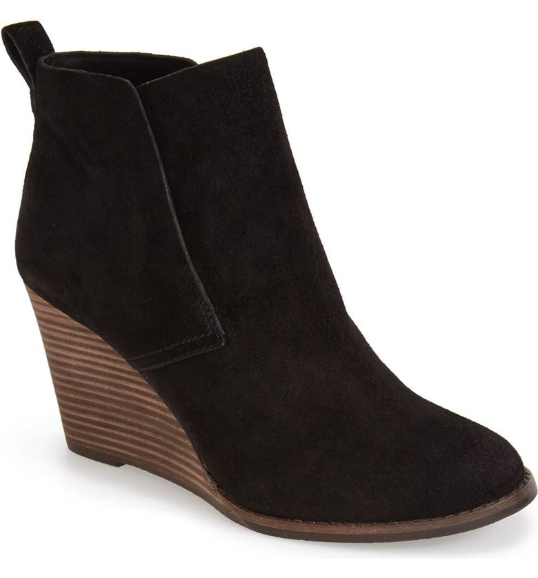 LUCKY BRAND 'Yoniana' Wedge Bootie, Main, color, BLACK OILED SUEDE