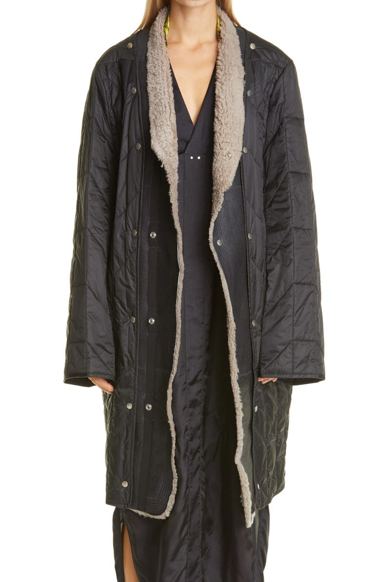 RICK OWENS Quilted Coat with Removable Leather & Genuine Shearling Trim, Main, color, 001