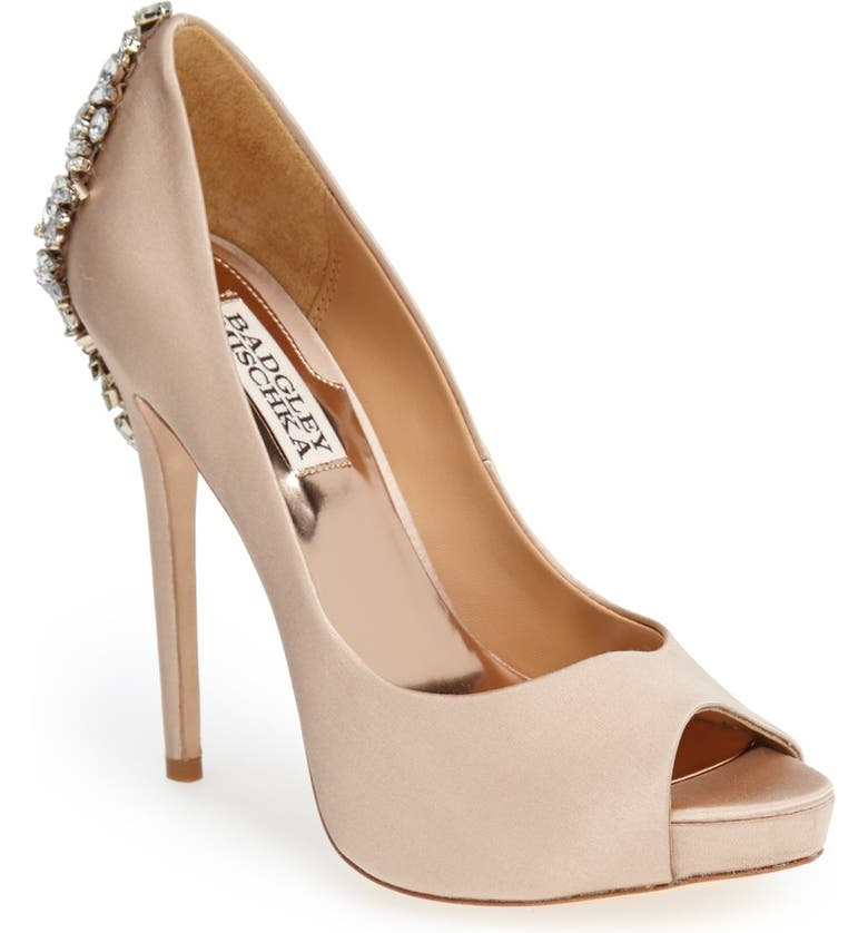 BADGLEY MISCHKA COLLECTION Badgley Mischka Kiara Crystal Back Open Toe Pump, Main, color, LATTE SATIN