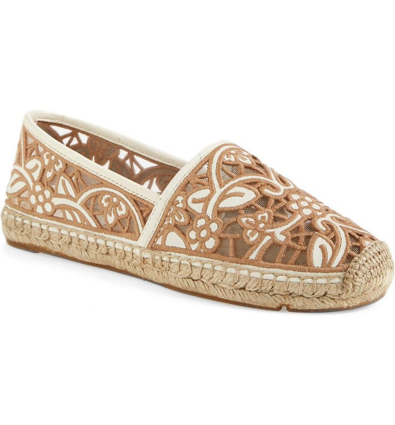 TORY BURCH 'Lucia' Lace Espadrille Flat, Main, color, IVORY NATURAL BLUSH
