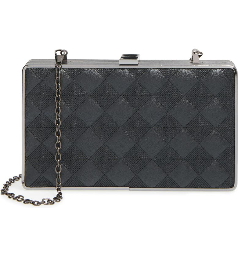 SONDRA ROBERTS Quilted Clutch, Main, color, BLACK/ SILVER
