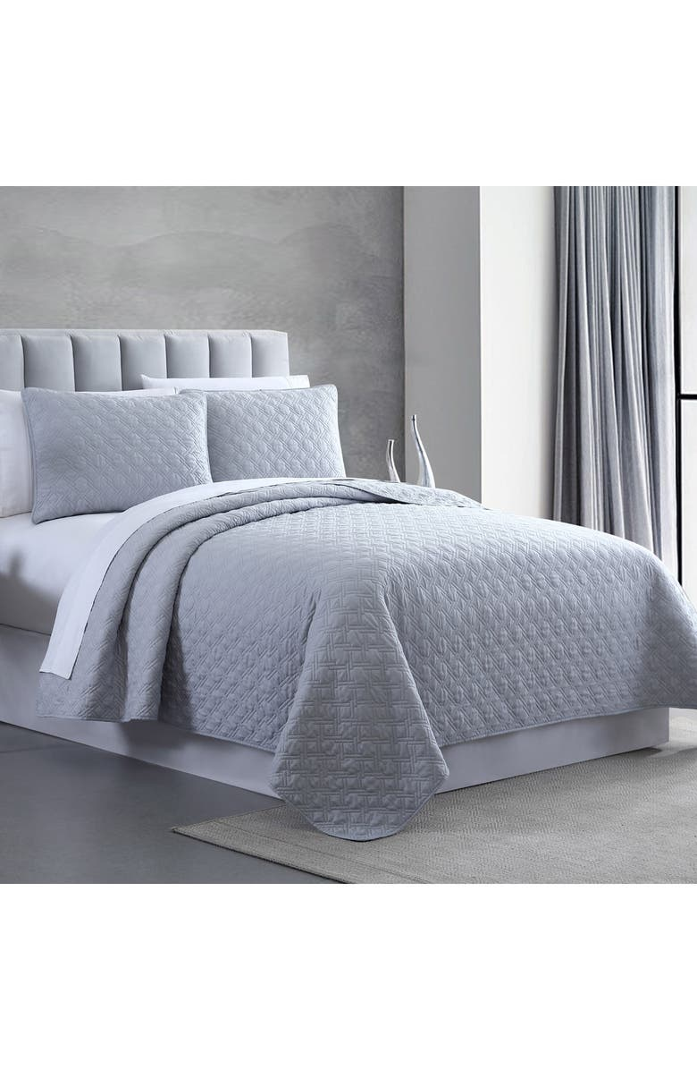 MODERN THREADS Queen Enzyme Washed Diamond Link Quilted Coverlet 3-Piece Set - Gray, Main, color, GREY